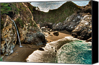 Peak One Canvas Prints - McWay Falls Hwy 1 California Canvas Print by Connie Cooper-Edwards