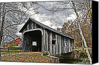 Bridge Crossing River Photo Canvas Prints - McWilliam Covered Bridge Canvas Print by DJ Florek