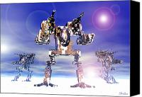 Shaffer Art Canvas Prints - Mech Trianary In Snow Camoflauge Canvas Print by Curtiss Shaffer