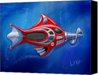 Featured Canvas Prints - Mechanical Fish 1 Screwy Canvas Print by David Kyte