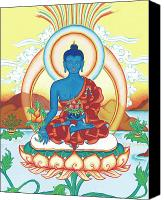 Thangka Canvas Prints - Medicine Buddha Canvas Print by Carmen Mensink