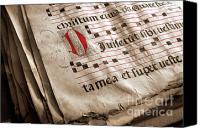 Paper Photo Canvas Prints - Medieval Choir Book Canvas Print by Carlos Caetano