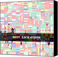 Other World Canvas Prints - Meet Each Other Canvas Print by Stefan Kuhn