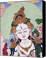 Thangka Canvas Prints - Meeting White Tara Canvas Print by Leslie Rinchen-Wongmo