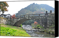 Arch Bridge Canvas Prints - Megane-bashi Bridge At Akitsuki Canvas Print by Shigeon