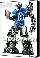 Football Digital Art Canvas Prints - Megatron-Calvin Johnson Canvas Print by Peter Chilelli