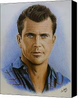 Person Drawings Canvas Prints - Mel Gibson Canvas Print by Andrew Read