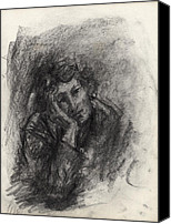 Charcoal Drawings Canvas Prints - Melancholy Canvas Print by Ethel Vrana