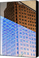 Abstract Building Canvas Prints - Melancholy in Blue and Brown Canvas Print by Dean Harte