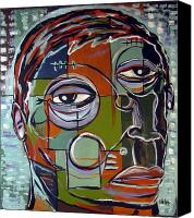 Neo Expressionism Canvas Prints - Melancholy Man Canvas Print by Robert Wolverton Jr