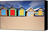 Melbourne Canvas Prints - Melbourne Beach Huts In Australia Canvas Print by Timphillipsphotos