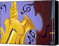 Jazz Instruments Mixed Media Canvas Prints - Mellow Me Canvas Print by Kayon Cox