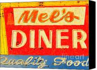 Diners Canvas Prints - Mels Diner Canvas Print by Wingsdomain Art and Photography