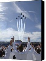 Navy Canvas Prints - Members Of The U.s. Naval Academy Cheer Canvas Print by Stocktrek Images