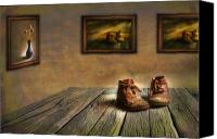 Wood Digital Art Canvas Prints - Mementos Exhibition Canvas Print by Veikko Suikkanen