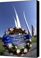Commemorating Canvas Prints - Memorial Day Wreath-laying Ceremony Canvas Print by Stocktrek Images