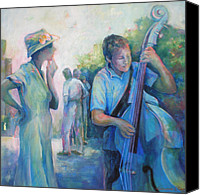 Musical Notes Canvas Prints - Memories -  Woman Is Intrigued By Musician.  Canvas Print by Susanne Clark