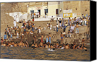 Bathe Canvas Prints - Men And Boys Bathe At An Ancient Ghat Canvas Print by Jason Edwards