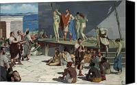 Gesturing Canvas Prints - Men Bid On Women At A Slave Market Canvas Print by H.M. Herget