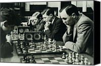 Chess Piece Canvas Prints - Men Concentrate On Chess Matches, 1940s Canvas Print by Archive Holdings Inc.