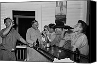 Social Canvas Prints - Men Drinking Beer At The Bar Canvas Print by Everett