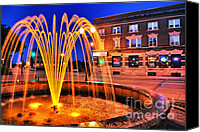 Wisconsin Canvas Prints - Menasha Lighted Fountain Canvas Print by Shutter Happens Photography