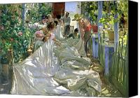 1923 (oil On Canvas) Canvas Prints - Mending the Sail Canvas Print by Joaquin Sorolla y Bastida