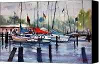 Great Painting Canvas Prints - Menominee Marina Canvas Print by Ryan Radke