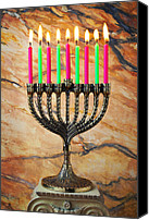 Burning Candles Canvas Prints - Menorah Canvas Print by Garry Gay