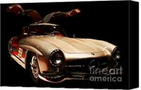 Transportation Tapestries Textiles Canvas Prints - Mercedes 300SL Gullwing . Front Angle Black BG Canvas Print by Wingsdomain Art and Photography