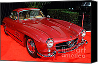 Transportation Tapestries Textiles Canvas Prints - Mercedes 300SL . Red . 7D9172 Canvas Print by Wingsdomain Art and Photography