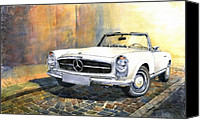 Classic Cars Canvas Prints - Mercedes Benz W113 280 SL Pagoda Front Canvas Print by Yuriy  Shevchuk