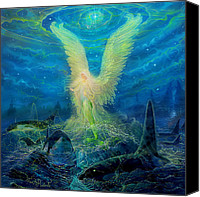 Whale Painting Canvas Prints - Mermaid Angel Canvas Print by Steve Roberts