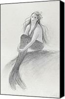 Mermaid Drawings Canvas Prints - Mermaid Christina in the sunshine Canvas Print by Tina Obrien