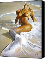 Woman Painting Canvas Prints - Mermaid Canvas Print by Karina Llergo Salto