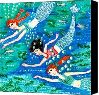 Sue Burgess Canvas Prints - Mermaid race Canvas Print by Sushila Burgess