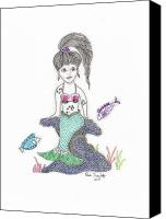 Mermaid Drawings Canvas Prints - Mermaid Under the Sea Canvas Print by Paula Dickerhoff