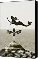 Monocromatico Canvas Prints - Mermaid Weathervane In Sepia Canvas Print by Ben and Raisa Gertsberg