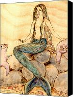 Long Pyrography Canvas Prints - Mermaid with Seals Canvas Print by Pauline Ross