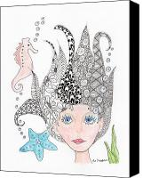 Mermaid Drawings Canvas Prints - Mermaiden Canvas Print by Paula Dickerhoff