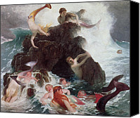 Siren Canvas Prints - Mermaids at Play Canvas Print by Arnold Bocklin