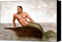 Mermaid Drawings Canvas Prints - Merman Reef Canvas Print by Bruce Lennon