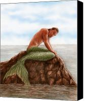 Mermaid Drawings Canvas Prints - Merman Resting Canvas Print by Bruce Lennon
