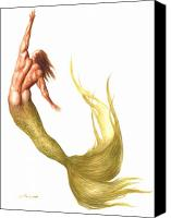 Mermaid Drawings Canvas Prints - Merman Rising Canvas Print by Bruce Lennon