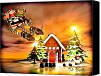 Cartoon Canvas Prints - Merry Christmas  Boxing Day Rocket Sliegh Ride Canvas Print by Bob Orsillo