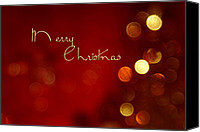 Christmas Cards Canvas Prints - Merry Christmas Card - Bokeh Canvas Print by Aimelle
