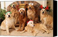 Dogs Canvas Prints - Merry Christmas Canvas Print by Lawrence Christopher