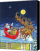 Rudolph Canvas Prints - Merry Christmas To All Canvas Print by Richard De Wolfe