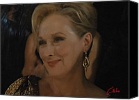 Colette Canvas Prints - Meryl Streep receiving the Oscar as Margaret Thatcher  Canvas Print by Colette Hera  Guggenheim