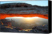 Mesa Arch Canvas Prints - Mesa Arch at sunrise in Canyonlands National Park Canvas Print by Pierre Leclerc